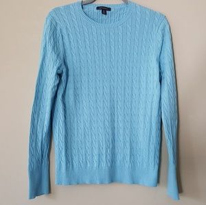 Lands' End Cable Crewneck Sweater Cotton Medium